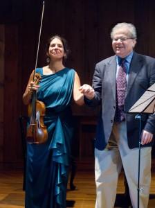 Pamela Frank and Emanuel Ax take their bows. Photo Leslie Teicholz.