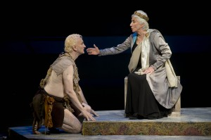 Rocco Sisto as Caliban and Olympia Dukakis as Prospera in The Tempest at Shakespeare and Company. Photo Kevin Sprague.