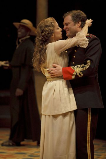 Deborah Hay as Beatrice and Ben Carlson as Benedick in Much Ado About Nothing. Photo: David Hou.