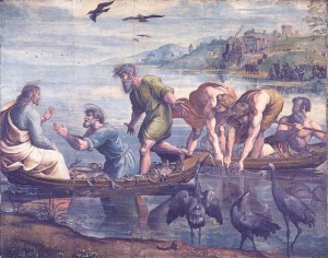 Raphael. The Miraculous Draught of Fishes. (1515-16) Bodycolour over charcoal underdrawing on paper, mounted on canvas, 319 x 399 cm. On loan from HM Queen Elizabeth II; rcin 912944.