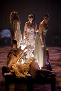 From top, left: Jacquelyn French, Barbara Fulton, Monique Lund, Sarah Afful, Ayrin Mackie as Chorus of Women in Elektra. Photo by Cylla von Tiedemann.