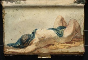 A Supine Female Nude, with Drapery over her Head, 1799-1800 by Joseph Mallord William Turner