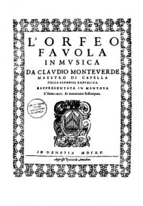 Title page from the 1609 edition of L'Orfeo.