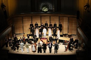 The Austra;ian Brandenburg Orchestra and cast of L'Orfeo. Photo by Steven Godbee.