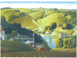Grant Wood (American, 1891–1942), Stone City, Iowa , 1930 oil on wood panel, 30¼ x 40, 76.84 x 101.6 cm Gift of the Art Institute of Omaha, 1930.35