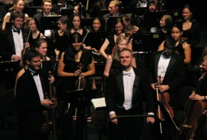 Music Director Tonu Kalam and the UNC Symphony Orchestra take their bows.