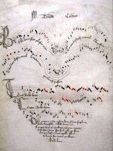 """Ars subtilior music from the Codex Chantilly: """"Belle, bonne, sage"""" by Baude Courdier."""