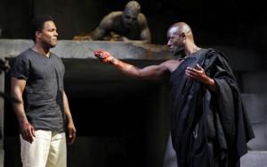 Ray Fearon (Mark Antony) and Paterson Joseph (Brutus) in Gregory Doran's Julius Caesar. Photo by Nigel Norrington.