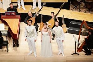 Pastori and Ninfa in Monteverdi's L'Orfeo. Photo by Steven Godbee.