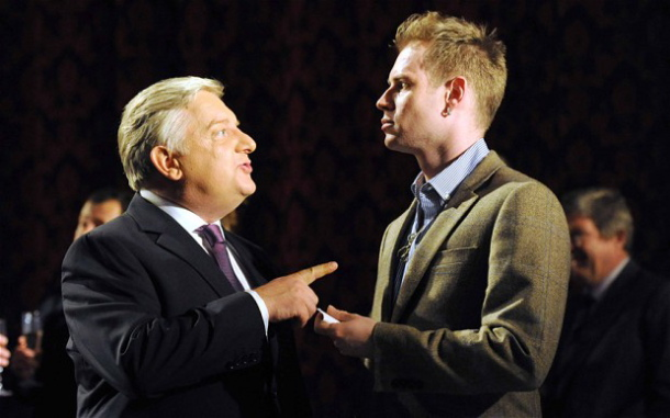 Simon Russell Beale (Timon) and Tom Robertson (Ventidius) in Timon of Athens at The National Theatre. Photo: Alastair Muir.