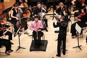 Craig Hill playing the basset clarinet with Paul Dyer and the Australian Brandenburg Orchestra. Photo by Steven Godbee.