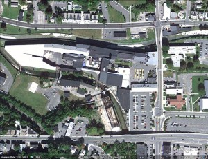 Google Earth Satellite image of Mass MoCA flanked by Porches and the bypass.