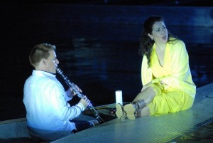 Todd Palmer and Elizabeth Futral in Ricky Ian Gordon's Orpheus and Eurydice, Poolside by the Long Beach Opera.