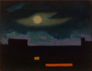 Jenö Szervánszky. Moon over Dark Buildings. Oil on board. ca.19?? 20 x 15cm Private collection View over the rooftops from the artist's apartment in Danjanich utca, Budapest.