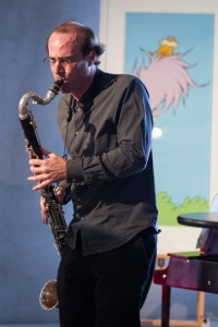 Ken Thomson plays in the Musicircus. Photo by Jamie Williams.