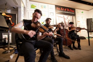"""""""String quartet electronic muscle stimulation"""" — at the Musicircus. Photo by Jamie Williams."""