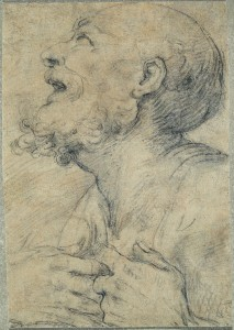 Il Sodoma (Vercelli 1477–Siena 1549). Head of a Man, Black chalk.