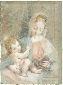 Federico Barocci (Urbino c. 1535–Urbino 1612). Madonna Reading, with the Christ Child on Her Lap; verso, Torso of a Bearded Man. Black and red chalk with pink, light blue, yellow, orange, and brown-red pastel on gray-blue paper; verso, black chalk with pink, red, and brown pastel.