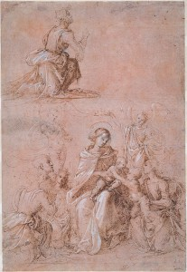 Fra Bartolommeo (Florence 1472–1517). The Virgin and Child Surrounded by Saints and Angels; verso, A Kneeling Angel and a Standing Man, c. 1500 Pen and brown ink over metalpoint, heightened with white, on pink prepared paper; verso, pen and brown ink over metalpoint, heightened with white, on gray-blue prepared paper.
