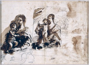 Pier Francesco Mola (Coldrerio 1612–Rome 1666). Two Studies of Saint Cecilia Playing the Organ; verso, Two Studies of the Madonna and Child, Pen and brown ink with brown and red washes over black chalk with touches of red chalk; verso, pen and brown ink with brown wash over black chalk.