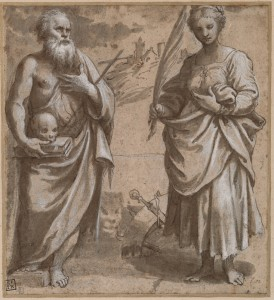 Girolamo da Treviso (Treviso c. 1497–Boulogne 1544). Saint Jerome and Saint Catherine of Alexandria Standing in a Landscape. Pen and brown ink and gray wash, heightened with white, over black chalk, on buff-colored paper.