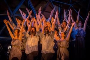 Cantillation chorus as the Spartans in the Pinchgut Opera's Castor & Pollux. Photo by Simon Hodgson.