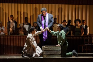 L to R: Brandy Lynn Hawkins as Irina, Eric Owens as Stephen Kumalo and Makudupanyane Senaoana as Absalom in The Glimmerglass Festival's production of Kurt Weill and Maxwell Anderson's Lost in the Stars. Photo Karli Cadel/The Glimmerglass Festival.