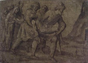 Lorenzo Lotto (Venice c. 1480–Loreto 1556). The Body of Christ Being Carried to the Sepulchre; verso, Scenes from a Last Judgment, Pen and brown ink and gray wash over black chalk, heightened with white, with later addition of green-brown wash, on blue paper; verso, pen and brown ink over traces of black chalk.
