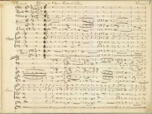 A page from the manuscript of Rameau's Castor et Pollux. In the Det Kongelige Bibliotek.