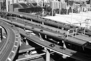Darling Harbour with Philip Cox's Exhibition Centre to the right of the freeway. Photo © 2011 Alan Miller.