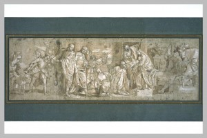 Studio of Paolo Caliari, called Veronese. Adoration of the Magi. Venice second half of 16th century. Quill, brown ink, sepia and red wash, charcoal, lead point, oil, and white highlights on paper. 90 x 30 cm. Musée du Louvre.