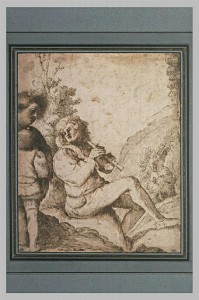 Circle of Giorgio Barbarelli. Shepherd playing a pipe. Late 15th or early 16th century Venice. Quill and brown ink on paper. 20 x 25 cm. Musée du Louvre.