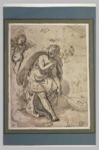 Paolo Caliari, called Veronese (attributed to). Seated woman holding a lute. Venice, second half of the 16th century. Quill and brown ink and sepia wash on paper. 15 x 19 cm. Musée du Louvre.