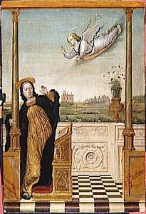 Carlo Braccesco. Annunciation, part of a triptych. Fourth quarter 15th century. Tempera, oil on poplar board. 52 x 105 cm. Musée du Louvre.