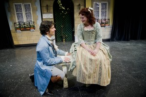 David Joseph and Emily Rose Ehlinger in a scene from Corneille's The Liar at Shakespeare and Co. Photo Kevin Sprague.