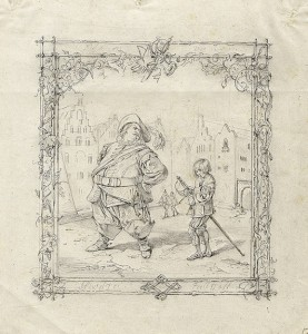 Falstaff and a Page. Adolf Schroedter. Pencil. 16x14.9 cm Germany. Circa 1841. The Hermitage.