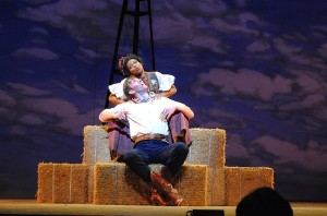 Matt Gibson and Chasten Harmon in Berkshire Theatre Group's Oklahoma! Photo by Abby LePage.
