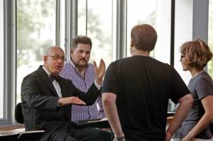 L to R: Leon Botstein, Music Director; Thaddeus Strassberger, Director; Andrey Borisenko, Aegisthus; Roza Tulyaganova, Translator. Bard Summerscape's Oresteia. Photo Cory Weaver.