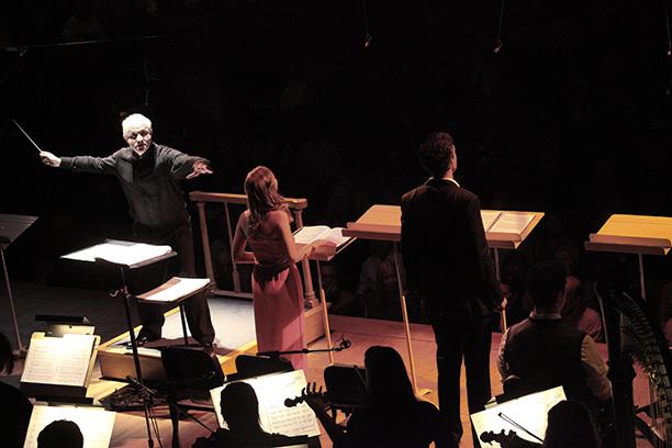 George Benjamin conducting his Opera, Written on Skin, with the TMC Orchestra in Seiji Ozawa Hall. Photo Hilary Scott.