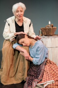 Olympia Dukakis and Brooke Parks in Shakespeare & Company's production of Mother Courage. Photo by Enrico Spada.