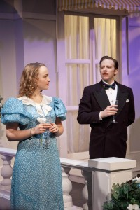 Annie Considine (Sybil) and Adam Huff (Victor) in Private Lives. Photo Kenin Sprague.