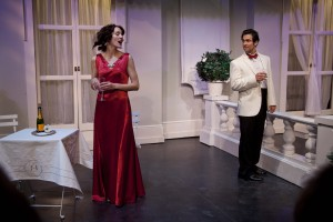 Dana Harrison (Amanda) and David Joseph (Elyot) in Noël Coward's Private Lives. Photo Kevin Sprague.
