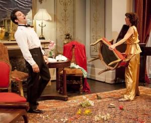 Dana Harrison (Amanda) and David Joseph (Elyot) in Noël Coward's Private Lives. Photo Kevin Sprague.