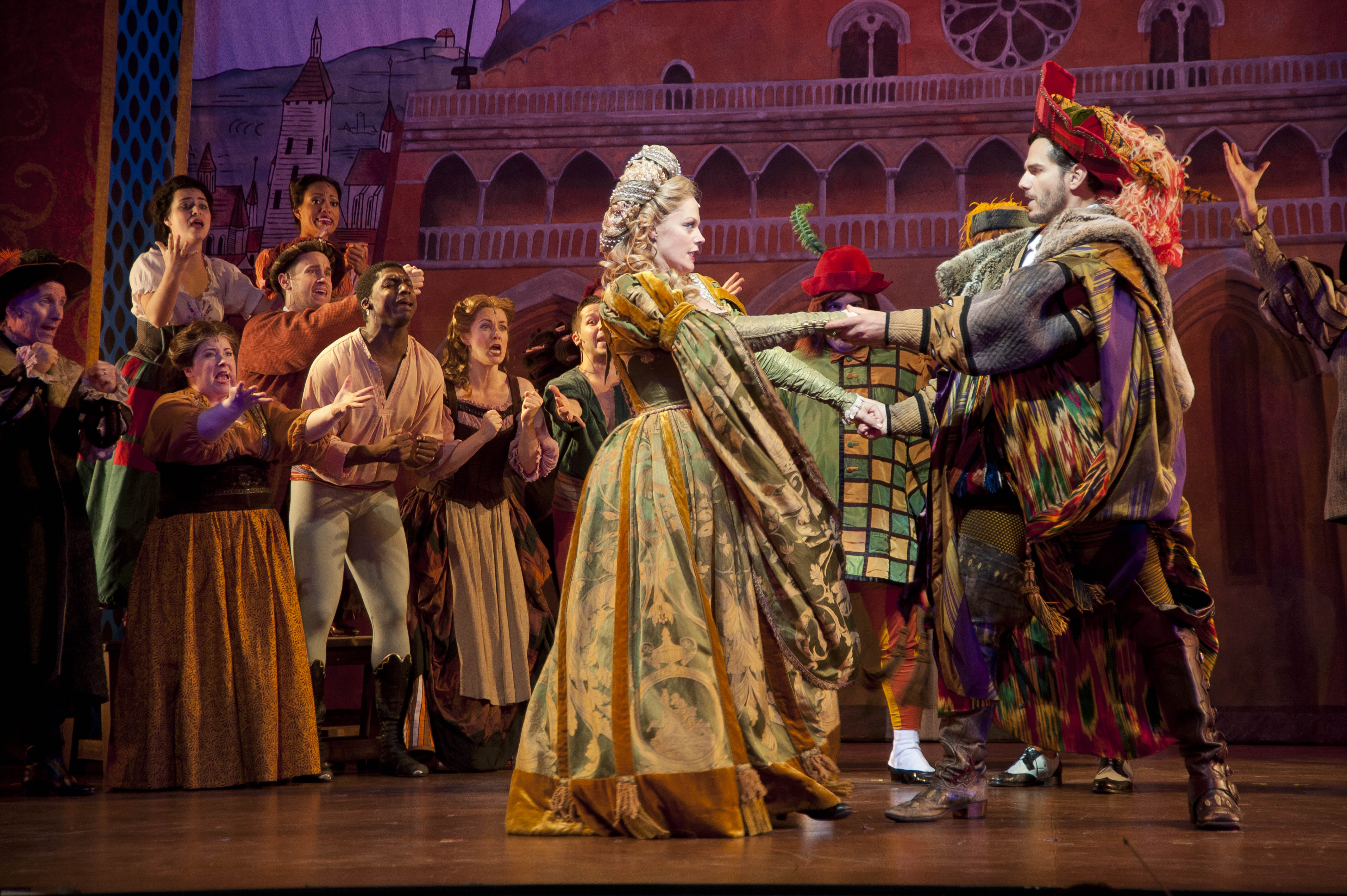 Elizabeth Stanley and Paul Anthony Stewart with the cast of Kiss Me, Kate. Photo by Kevin Sprague.