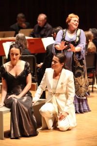 Amy Freston (Agilea), Amanda Forsythe (Teseo), and Dominique Labelle (Medea) in Handel's Teseo at Tanglewood. Photo Hilary Scott.