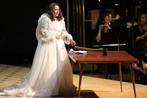 Lizzie Borden reaches for the axe in Jack Beeson's opera at Tanglewood. Photo Hilary Scott.