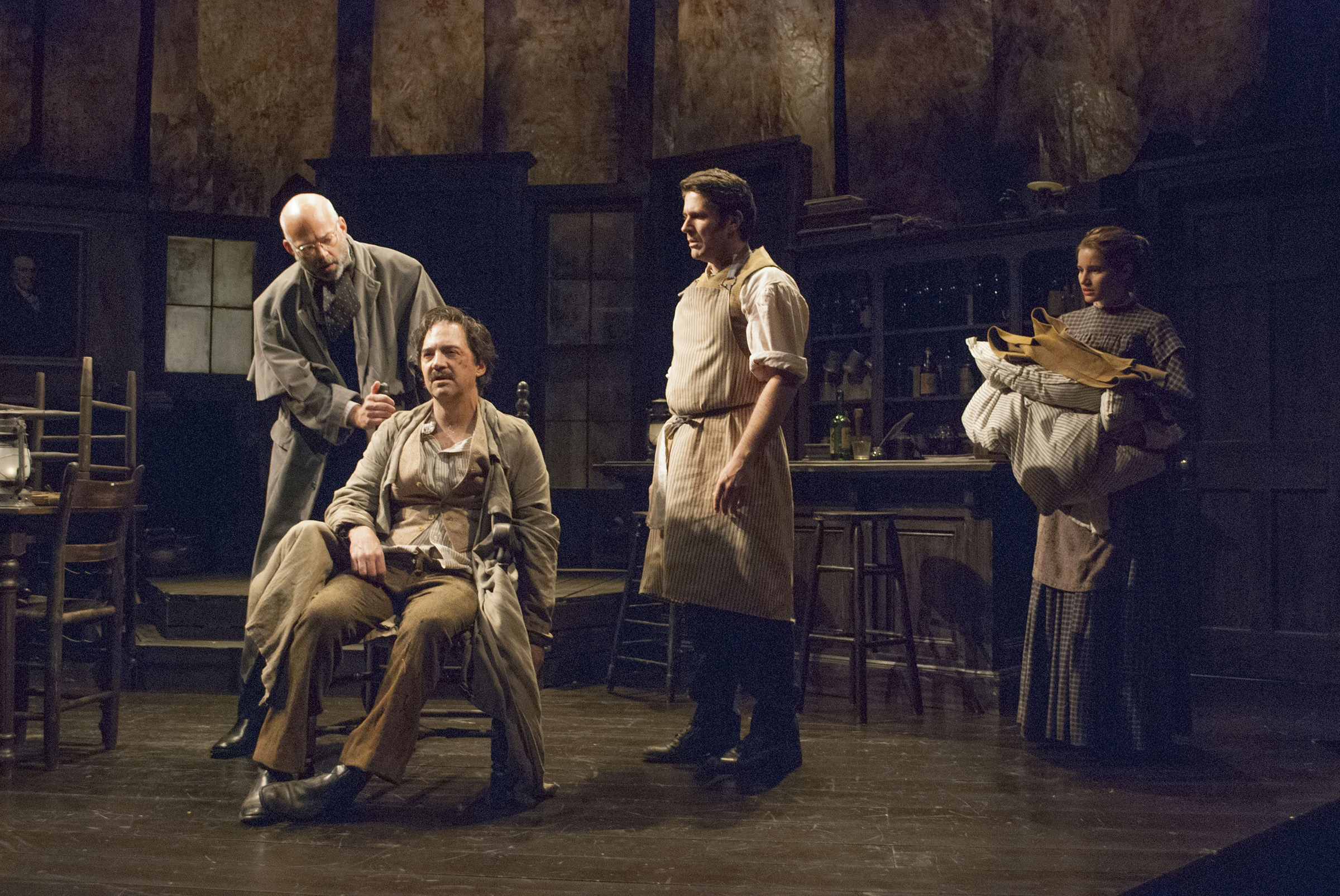 Brian E Plouffe, David Adkins, Andrew Young, and Madeline Calandrillo in POE. Photo Christina Riley.