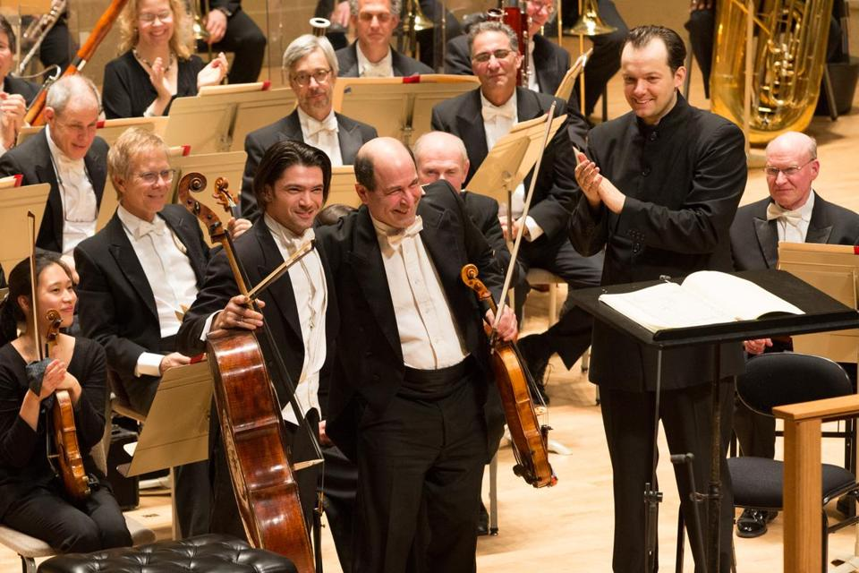 GautierCapucon, Steven Ansell, and Andris Nelsons take their bows after Strauss's Don Quixote. Photo Michael Blanchard