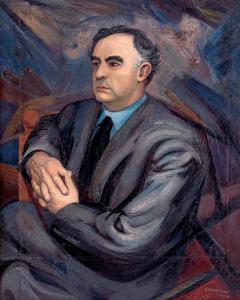 David Alfaro Siqueiros, Retrato del maestro Carlos Chávez, oil on canvas, 1948