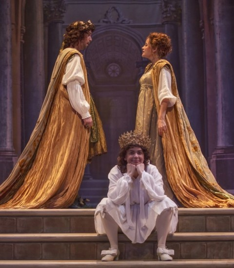 "David Hansen, Amanda Forsythe, and Nell Snaidas in Boston Early Music Festival's production of Monteverdi'€™s ""L€'incoronazione di Poppea."" Photo Frank Siteman."